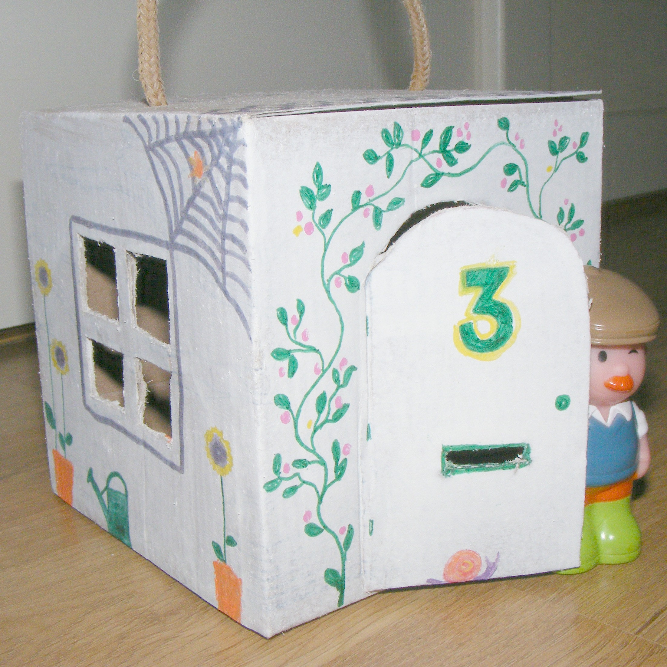 Dolls house with recycled sock box
